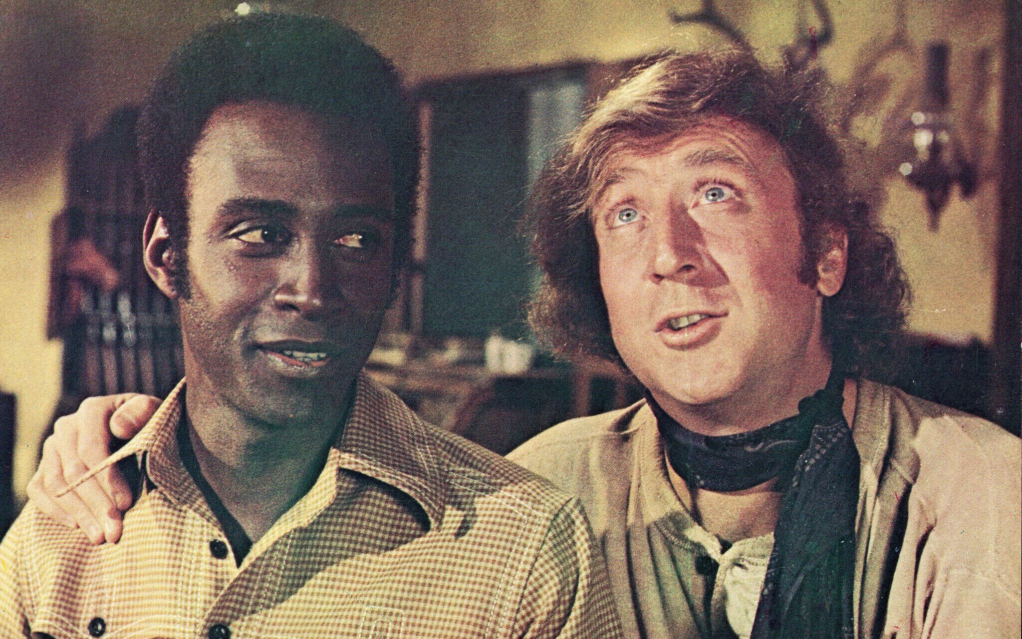 Gene Wilder and Cleavon Little on the set of 'Blazing Saddles'