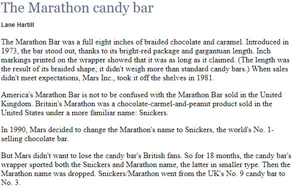 Snickers Marathon July 19th
