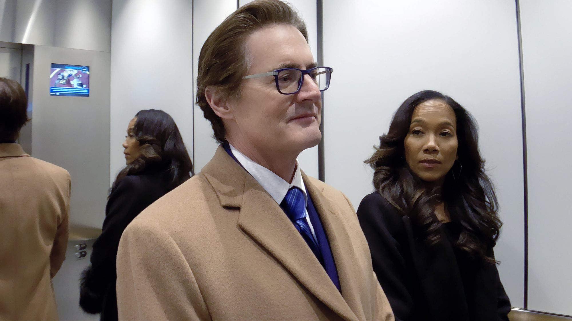Kyle MacLachlan as David Seton and Sonja Sohn as Myra in High Flying Bird, directed by Steven Soderbergh