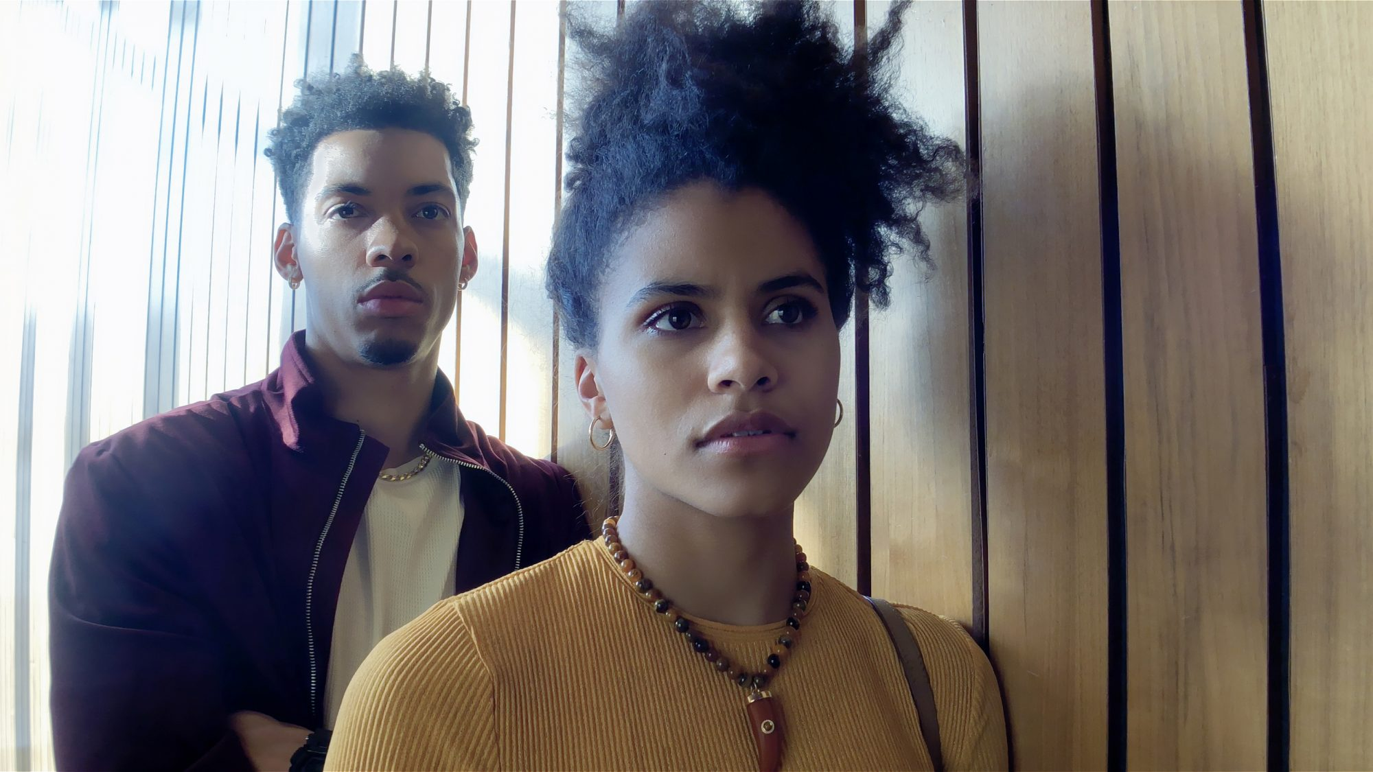 Melvin Gregg as Erick Scott and Zazie Beetz as Sam in High Flying Bird, directed by Steven Soderbergh. Photo by Peter Andrews