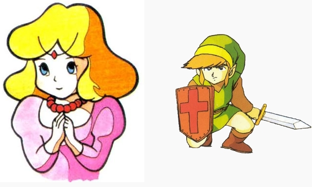 Zelda (left) and Link (right), taken from the game manual from 'The Legend of Zelda'