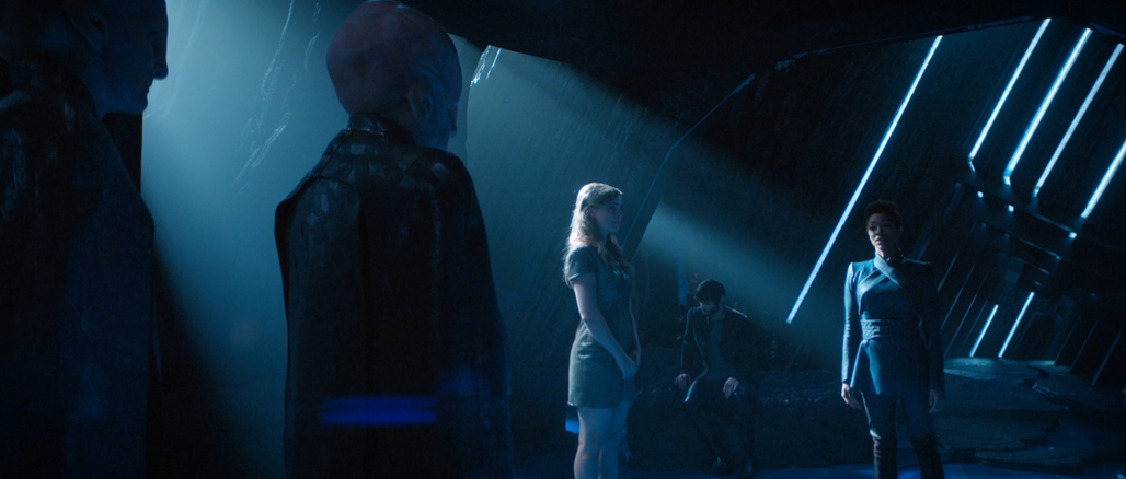 Vina (Melissa George) speaks on behalf of the Talosians to Spock and Michael (Ethan Peck and Sonnequa Martin-Green)