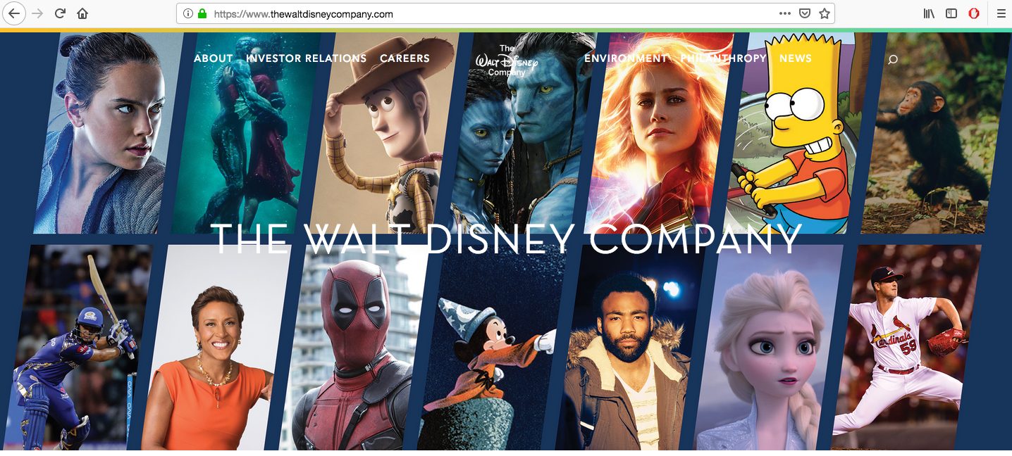 A screenshot from thewaltdisneycompany.com this morning showcasing their new acquisitions