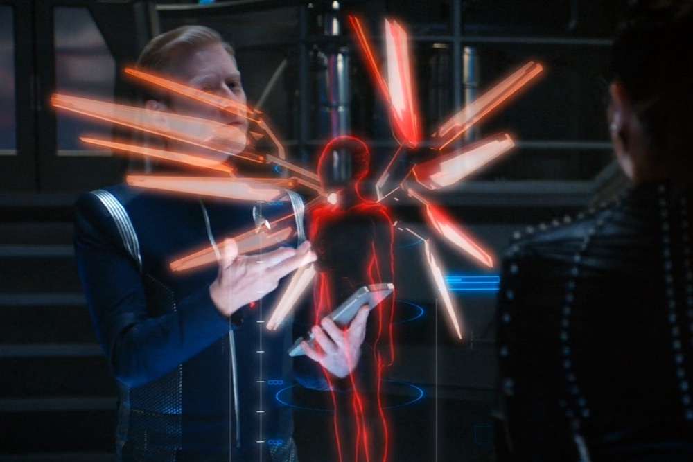 Lt. Commander Stamets (Anthony Rapp) figures out how the Red Angel is jumping through time