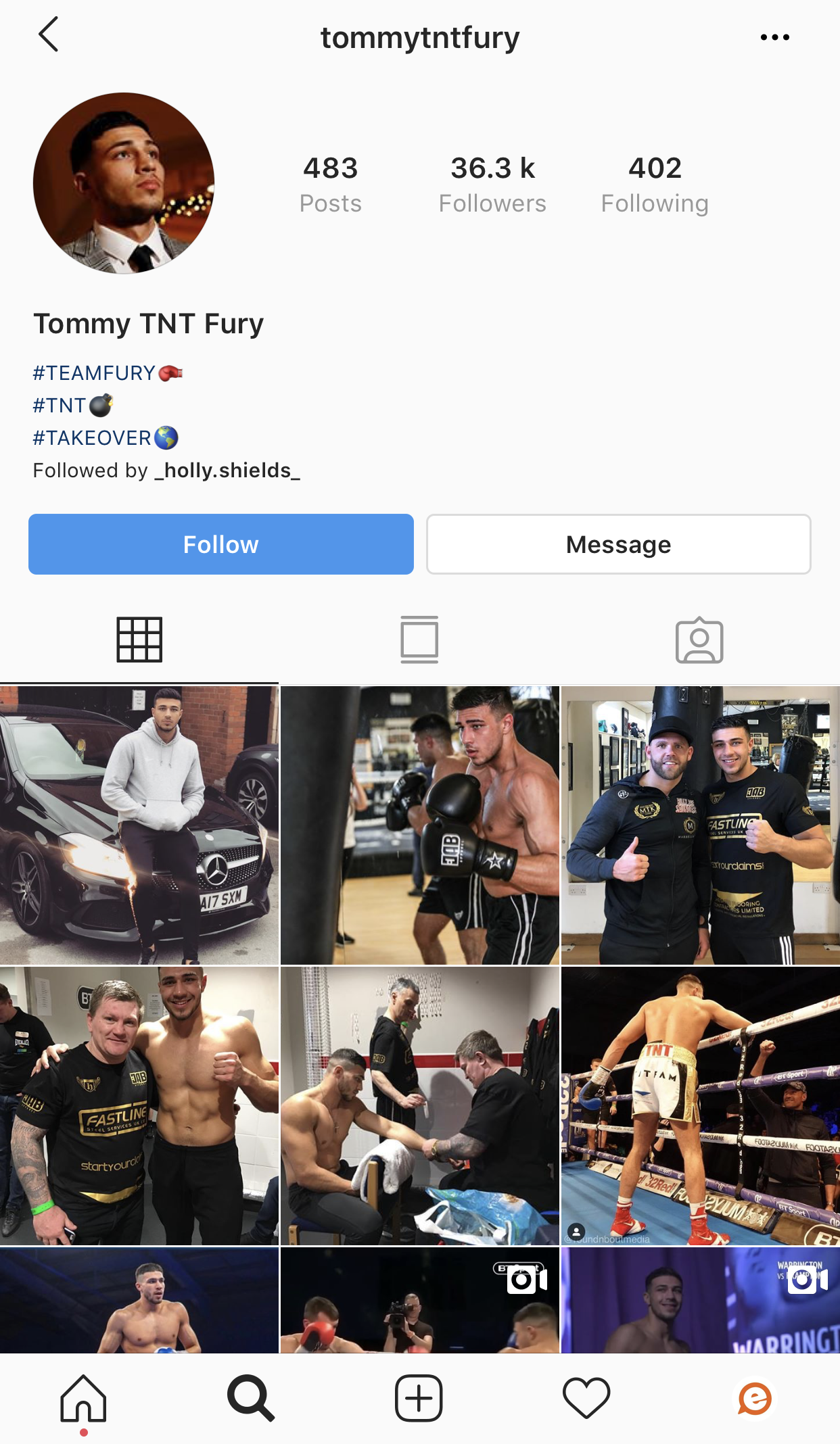 Tommy Love Island 2019 Instagram