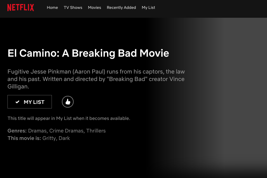 The Netflix page for 'El Camino', which disappeared off the streaming service earlier today.