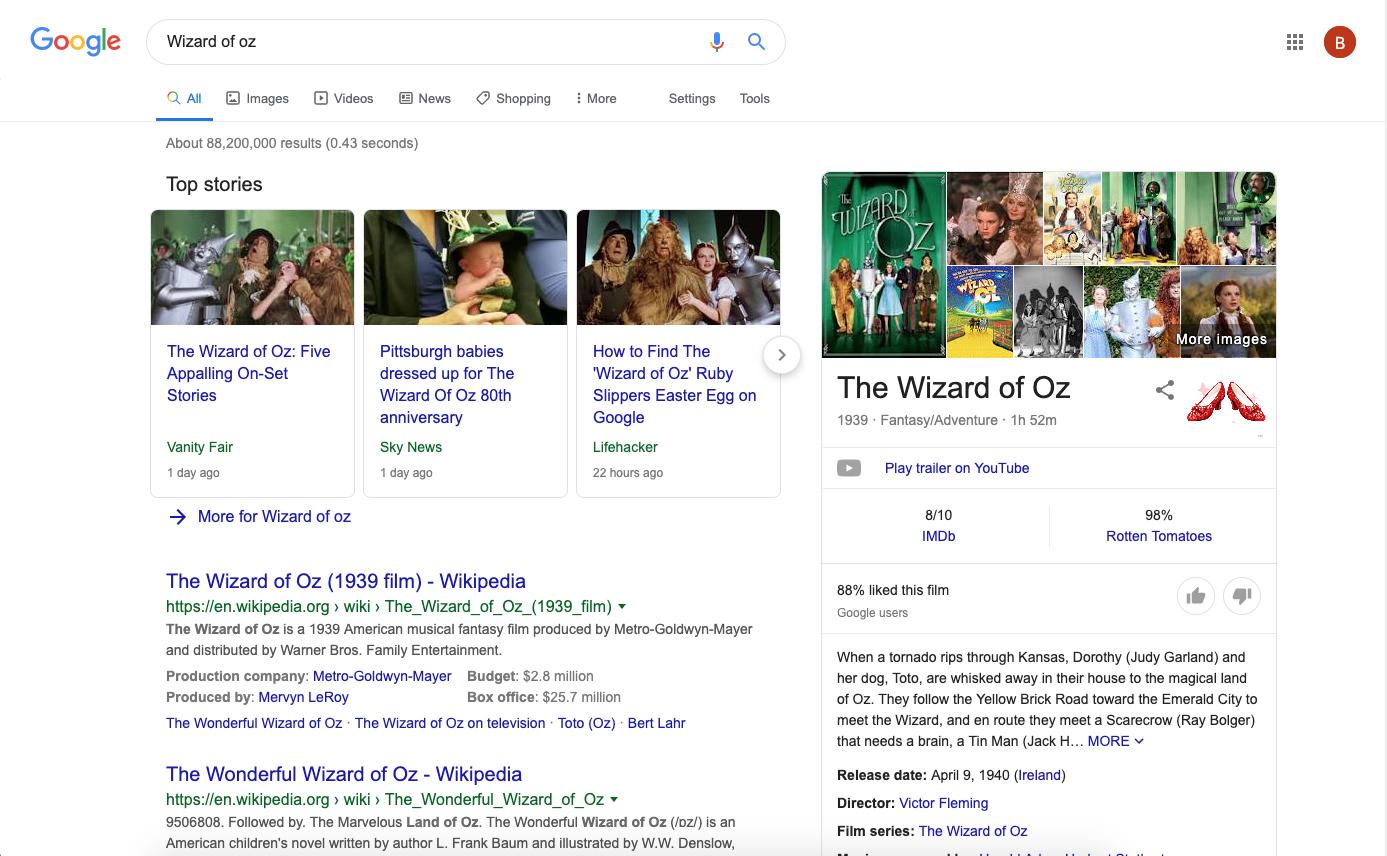 Wizard of Oz Google