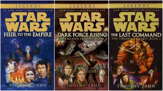 The book covers of the Thrawn trilogy, 'Heir To The Empire' (Left), 'Dark Force Rising' (Centre) and 'The Last Command' (Right)