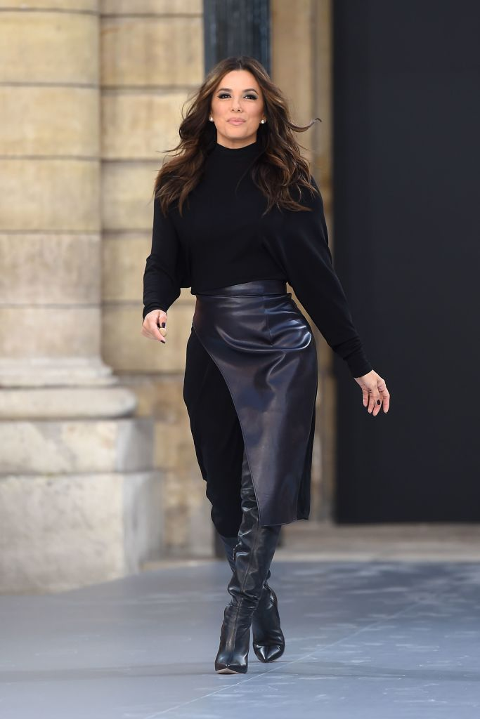 US actress Eva Longoria presents a creation for L'Oreal during the Women's Spring-Summer 2020 Ready-to-Wear collection fashion show at the Monnaie de Paris, in Paris on September 28, 2019. (Photo by Lucas BARIOULET / AFP) (Photo credit should read LUCAS BARIOULET/AFP/Getty Images)