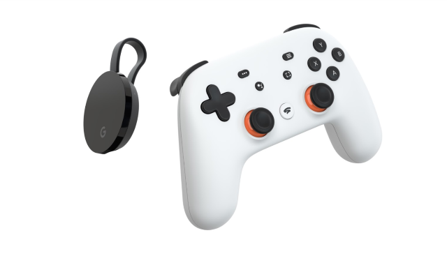 The Google Stadia controller and the Google Chromecast Ultra