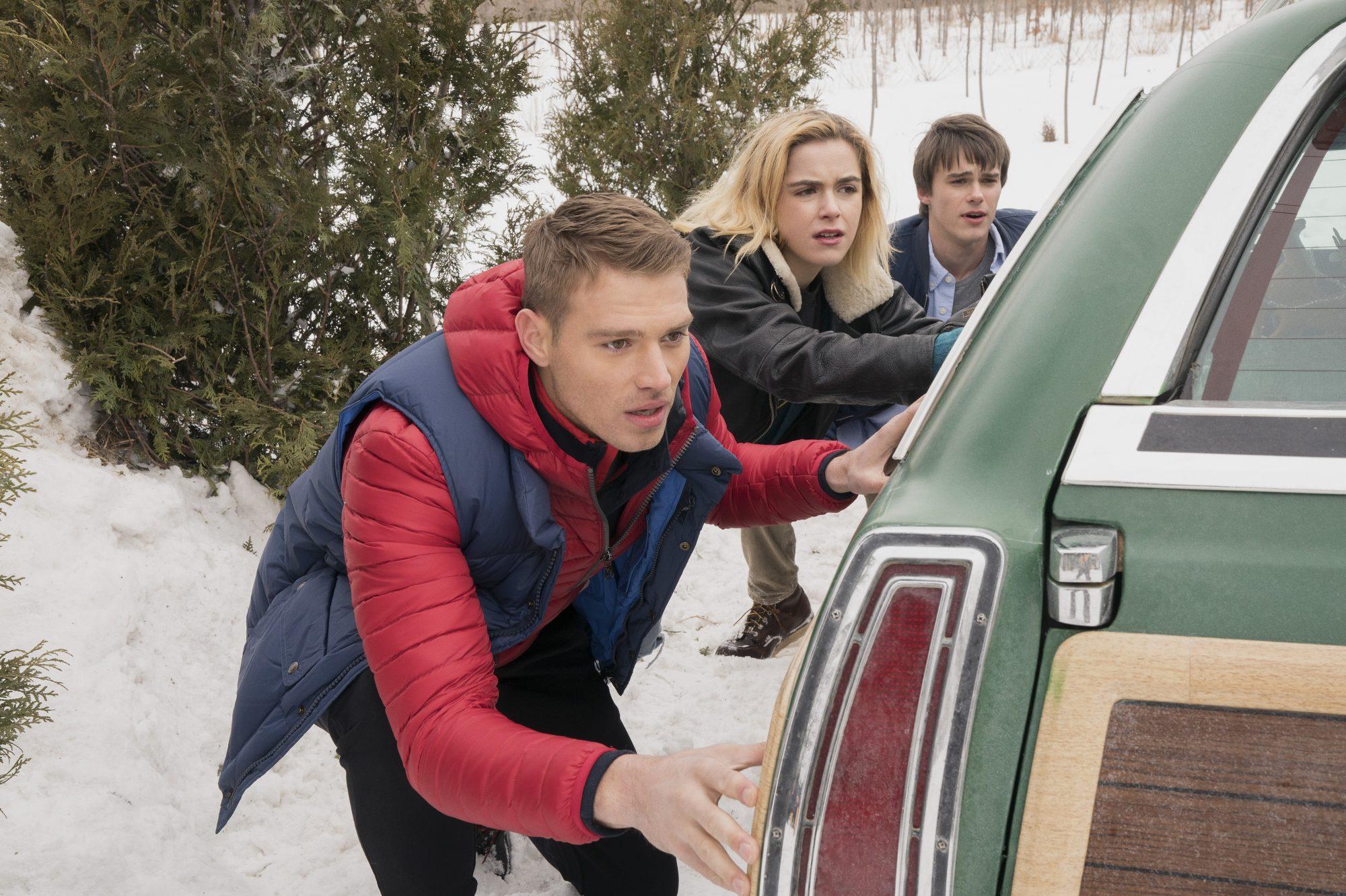 Let It Snow - Matthew Noszka, Kiernan Shipka, Mitchell Hope - Photo Credit: Netflix / Steve Wilkie