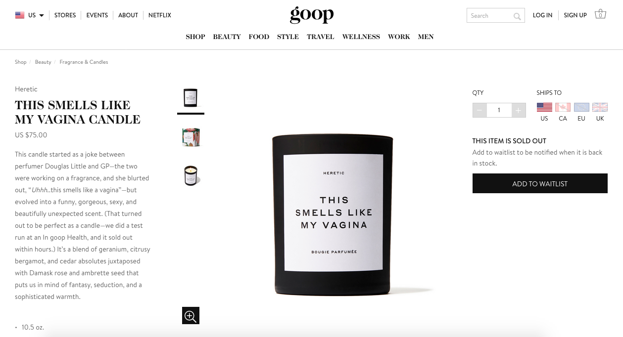 This is not a joke, but an actual screenshot from Goop.com that backs up the headline.